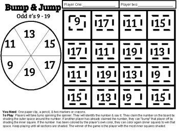 Bump & Jump Odd Numbers (9 - 19) - Math Game - Center Game
