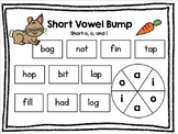 Bump Reading Game: Short a, short i, and short o