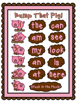 Bump That Pig!       Two Pre-Primer Sight Word Games
