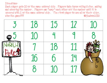 "Addition Facts ""Bump"" That Santa!"