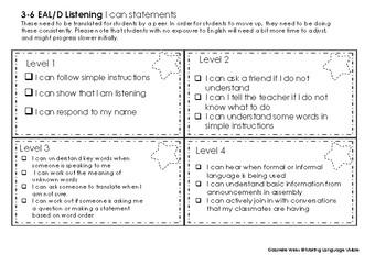 Bump it Up/I Can statement  3-6 with the ESL Scales & EAL/D Learning Progression