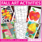 Fall Coloring Pages - Art Activities with Leaves, Apples, Acorns