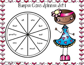 Valentine Themed Printable Sight Word Game for Kindergarten