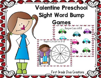Valentine Themed Printable Sight Word Game for Preschool