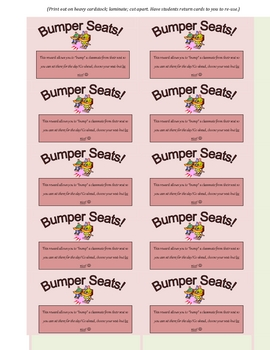 Bumper Seats! Reward Card for Students (Great Incentive!)