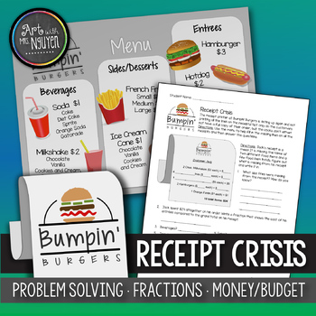 Bumpin' Burger's Receipt Crisis (Problem Solving, Fractions, Money, and Budget)