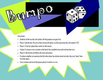 Bumpo - Order of Operation and Exponents
