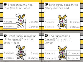 Bunches of Bunnies Plural Noun Task/Clip Cards!