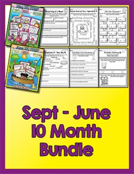 Bundle 10 Months - NO PREP Math & Literacy (Second)