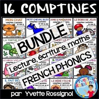 Bundle 13 comptines & activités (French Rhyming, French phonics, Les rimes)