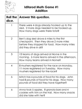 Bundle: 1st and 2nd Iditarod Dice Games:  Addition Subtraction Word Problems