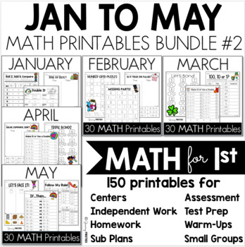 Monthly MATH Printables - January to May - CCSS Printables