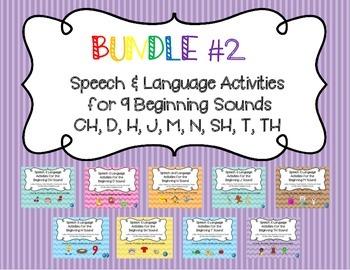 Bundle #2 - Articulation & Language Activities for CH, D, H, J, M, N, SH, T, TH