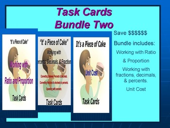 Bundle 2 Task Cards: Working with Fractions, Ratios, and Unit Cost..