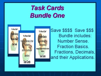 Bundle 1 Task Cards: Number Sense Basic Fractions, & Their Applications.