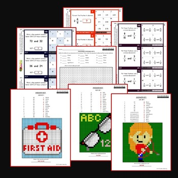 LCD, GCF and LCM Activities Coloring Task Cards and Worksheets Bundle