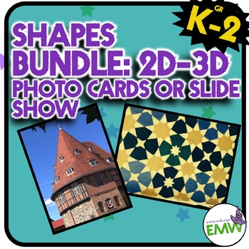 Bundle 2D and 3D Shapes Around Us Real Life Picture Cards of Shapes