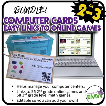 Bundle: 2nd-3rd grade Computer Center Math Cards to over 1