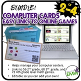 Bundle 2nd to 4th grade Computer Center Math Cards to over