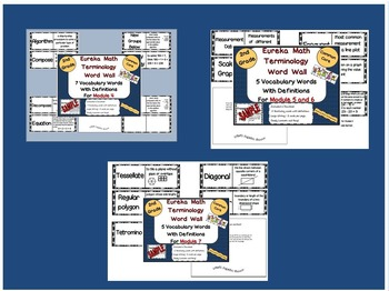 Bundle! 2nd Grade Eureka Math New Terminology Word Wall for Modules 4,5,6 and 7