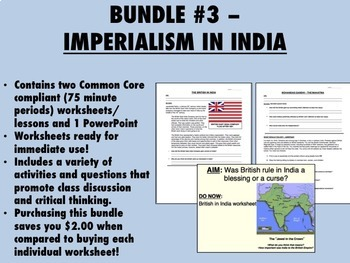 Bundle #3 - Imperialism in India - Gandhi - Global/World History Common Core