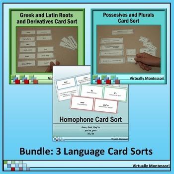 Bundle: Greek & Latin Roots, Homophones, Plurals & Possessives Card Sorts