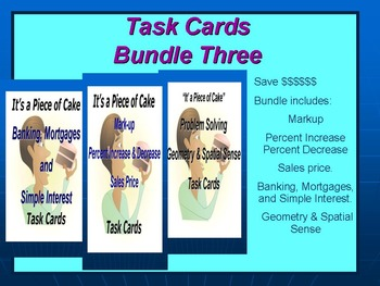 Bundle 3 Task Cards: Geometry, Markup, and Banking.