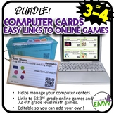 Bundle 3rd to 4th grade Computer Center Math Cards to over