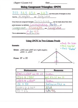 Geometry Guided Interactive Math Notebook Page (Bundle): Congruent Triangles