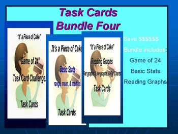Bundle 4 Task Cards: Basic Stats, Reading Graphs, and The