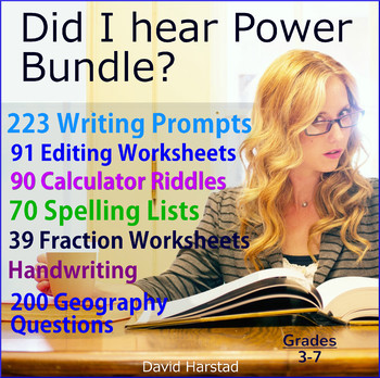 Writing Skills Bundle + Handwriting + Spelling + Fractions + Geography Questions