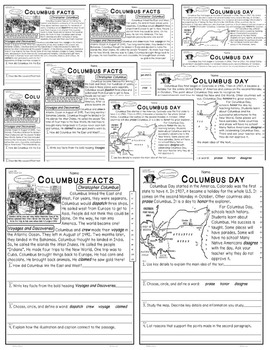 Bundle 5 Leveled Passages 4 Infomational Text: Christopher Columbus and More