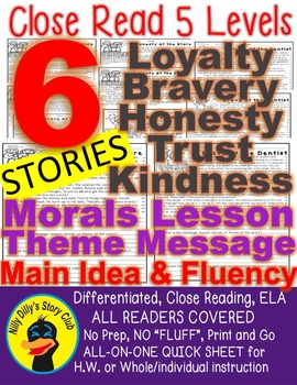 Literature Close Reading Stories w/ Questions: Morals Message Lesson 5 Levels!