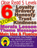 Literature Close Reading Leveled Passages: Morals Message Lesson Theme Fluency