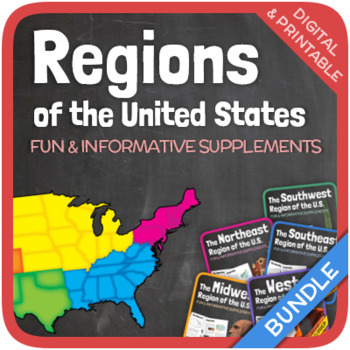 Five Regions Of The United States Bundle By Thematic Worksheets