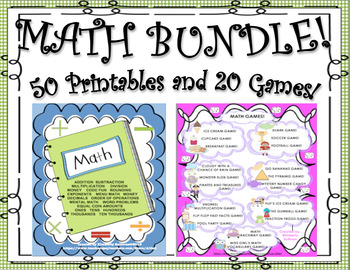 Bundle! Back to School review 50 Math Printables and 20 Games!   Grades 4 - 6