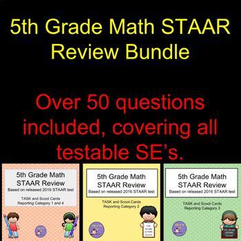 Bundle - 5th Grade Math STAAR Scoot/Task Cards