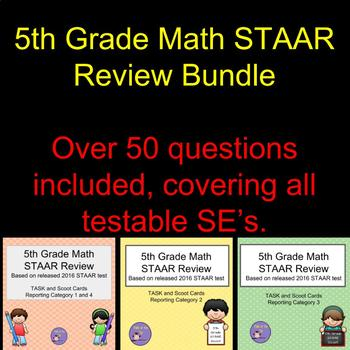 Bundle - 5th Grade Math STAAR Scoot/Task Cards