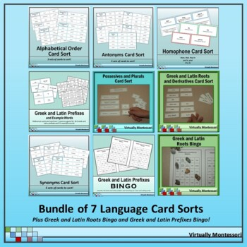 Bundle: 7  Language Card Sort Activities (plus bonus bingo