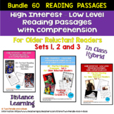 Bundle 60 High Low Reading Passages: Sets 1, 2, and 3 -  M
