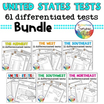 61 Differentiated United States Tests Quizzes - States, Capitals, Abbreviations
