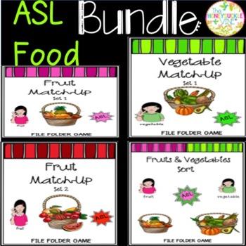 ASL Fruits & Vegetables File Folder Games Bundle