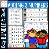 Bundle: Adding 3 Numbers Worksheets