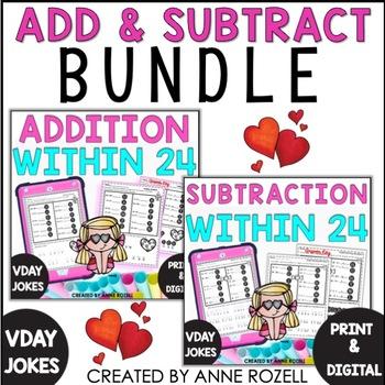 Addition & Subtraction Practice with Valentine Jokes Bundle