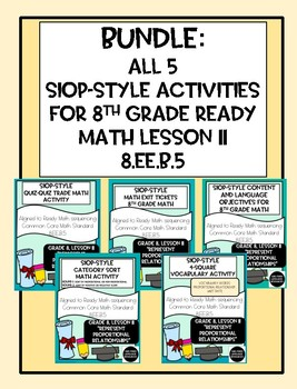 Bundle: All 5 SIOP-Style Ready Math Aligned Grade 8 Lesson 11 Resources 8.EE.B.5
