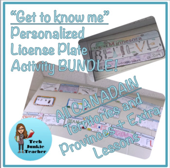 Bundle (All Canadian ProvincesTerritories) Get to Know Me License Plate Activity