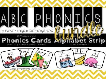 Bundle: Alpabet Strip & Phonics Cards in D'Nealian