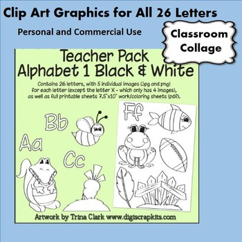 Bundle Alphabet B&W Clip Art - 5 or more pics per letter