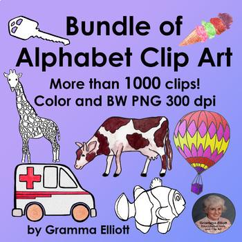 Alphabet Clip Art Bundle 1100 Clips Semi Realistic Color and Black Line