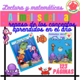 Bundle Animales del Mar, Ocean animals position words and more in Spanish